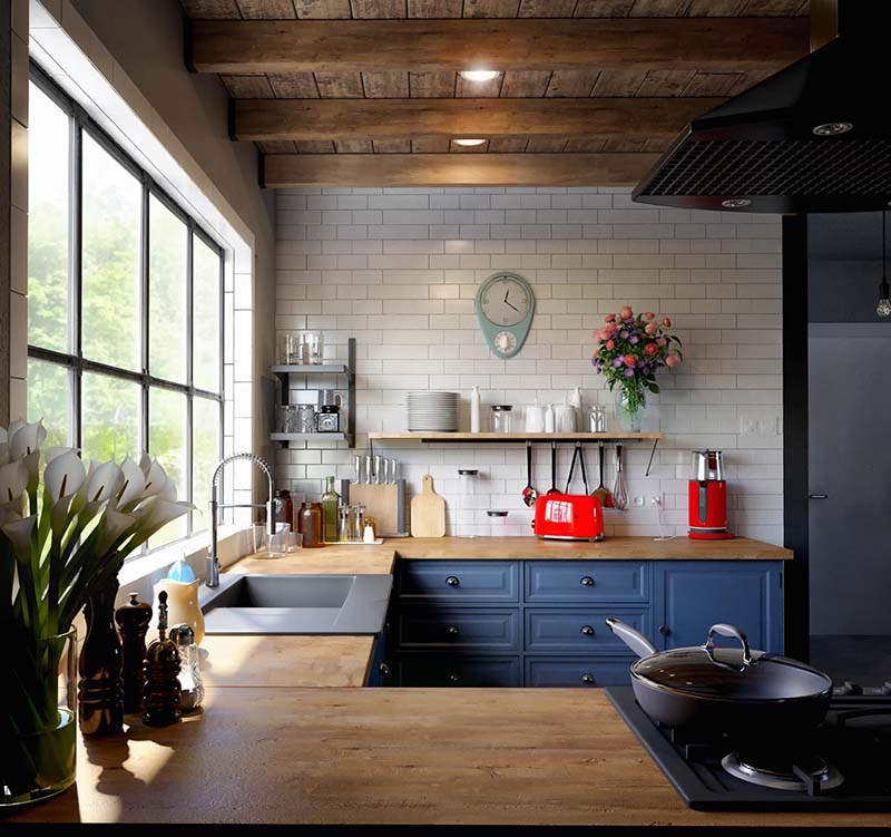 Màu xanh dương giúp căn bếp của bạn có không gian tươi sáng hơn