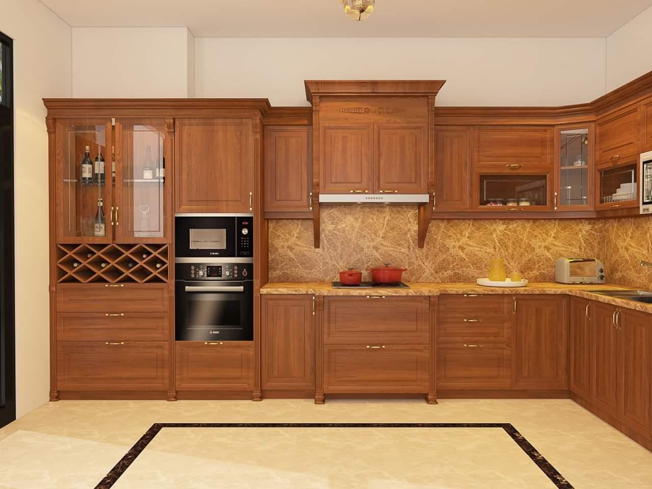 Chất liệu tủ bếp gỗ gõ đỏ trong nội thất bếp gia đình