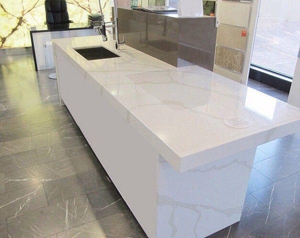 Những ưu điểm và nhược điểm của mặt đá tủ bếp màu trắng
